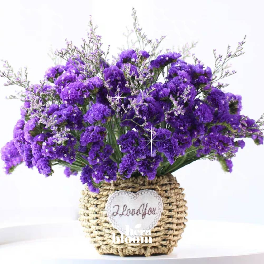 Dried Purple Caspia Statice in Basket - Hera Bloom