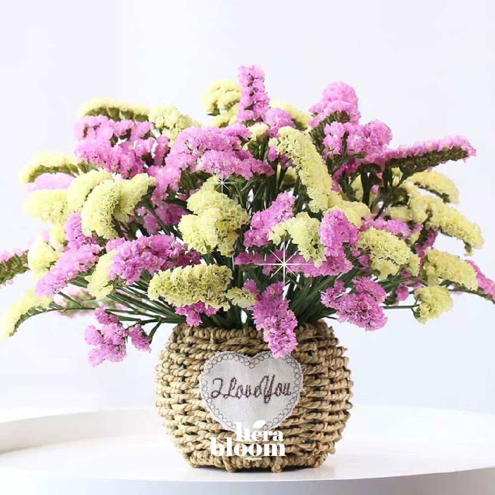 Mixed Dried Statice in Basket (2 colors) - Hera Bloom