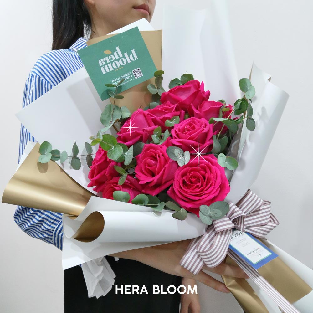 Hot Pink Rose Bouquet - Hera Bloom