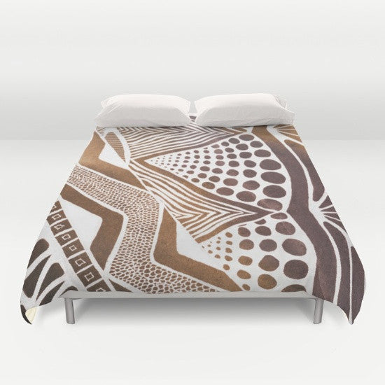 Gold African Pattern Duvet Cover - Duvet Planet