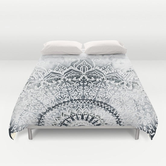 Grey Mandala Duvet Cover - Duvet Planet