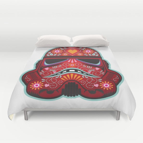 Red Galactic Villain Duvet Cover - Duvet Planet