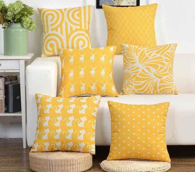 Nordic Style Yellow Pillow Covers - Duvet Planet