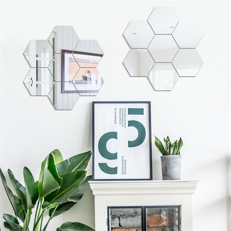 Hexagonal 7 Piece Acrylic Mirrored Decorative Sticker - Duvet Planet