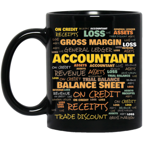Accountant Terminology Black Coffee Mug | Commonly Used Words In Accountant Profession