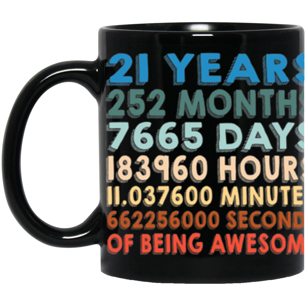 21h Birthday Retro Vintage Black Coffee Mug 11Oz.
