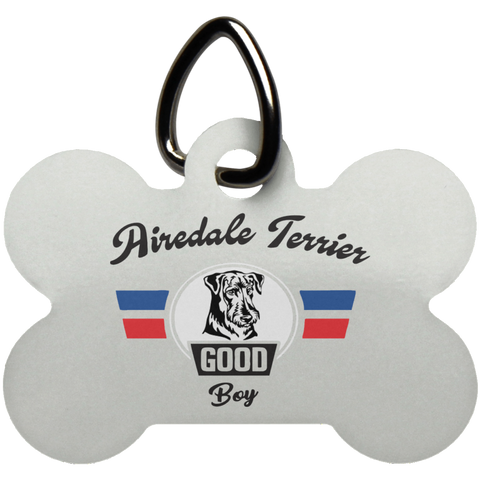 Airedale Terrier Good Boy Bone Pet Tag Gift For Dog Lovers