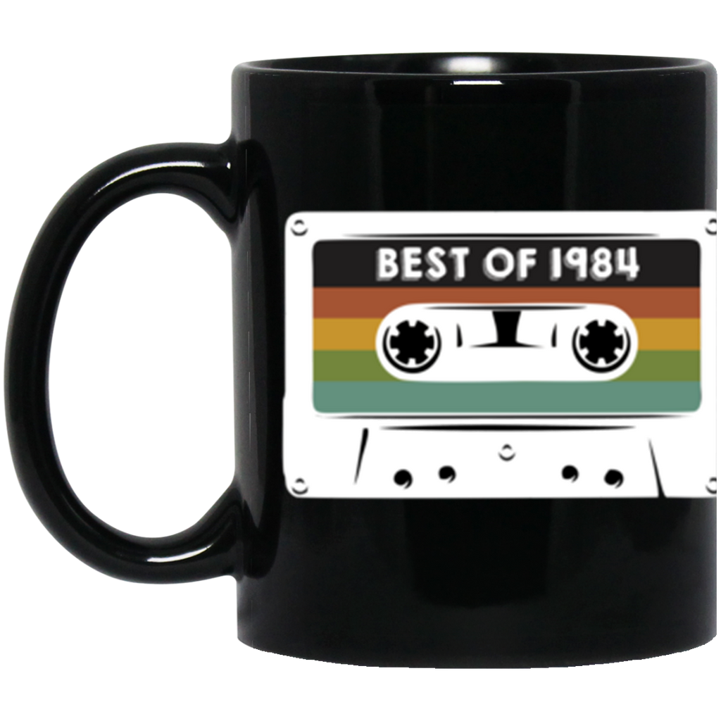 1984 Casette Tape Black Coffee Mug 11oz. Best of 1984