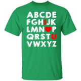 ABC I Love You Valentines Day T-shit - Love Alphabet Tee