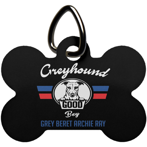 Greyhound Bone Tag | Greyhound Dog Tags | Good Boy Tag