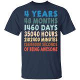 4th Birthday Retro Vintage T-shirt Youth Sizes - Years Of Awesomeness