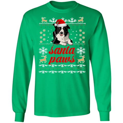 Border Collie Santa Paws Christmas Unisex Long Sleeve T-shirt