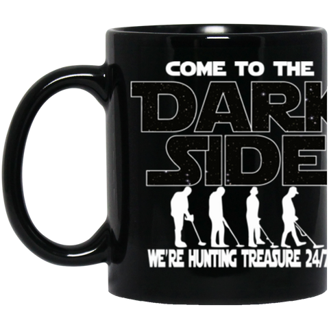 Metal Detecting Black Coffee Mug Dark Side