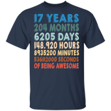 17th Birthday T shirt | Years Months Days Hours Minutes And Seconds Of Your Life