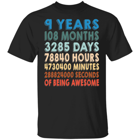 9th Birthday T-shirt - Retro Vintage 9 Years Of Being Awesome