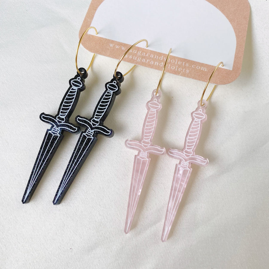 the crescent moon clay drop earring - lavender & brass