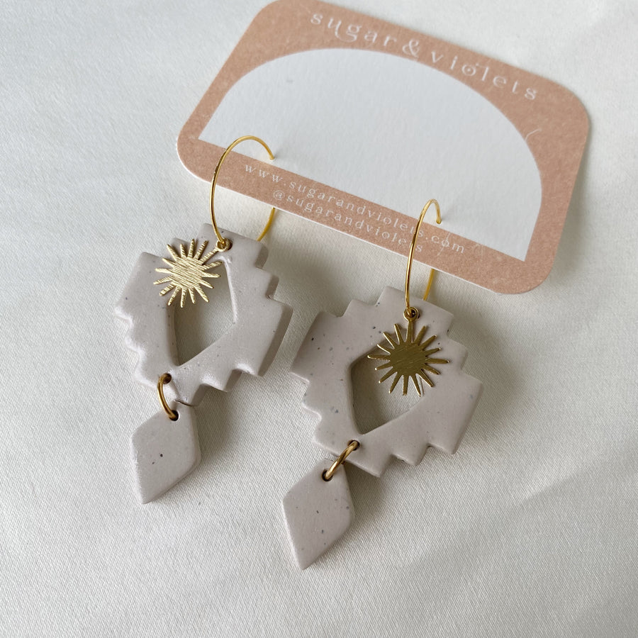 the all seeing moon earring - eggplant & brass