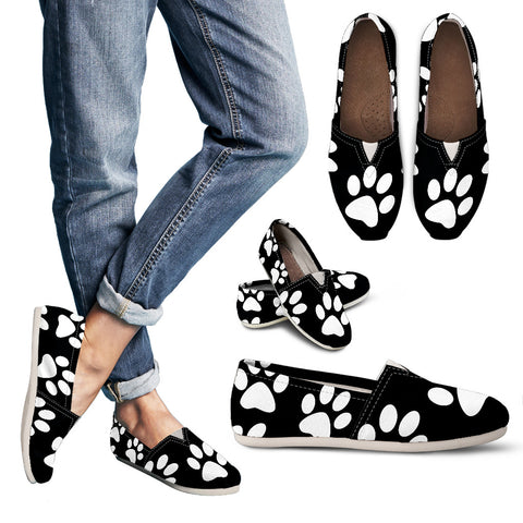 Paw Print Women's Casual Shoes (Black)