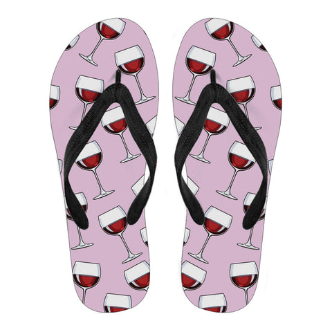 A Glass of Wine Flip-Flops (Pink)