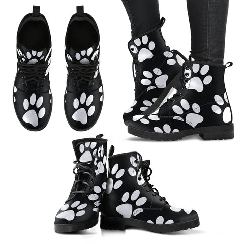 Paw Print Women's Leather Boots