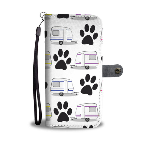 Paws & Camping Wallet Phone Case (White Background)