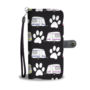 Paws & Camping Wallet Phone Case (Black Background)