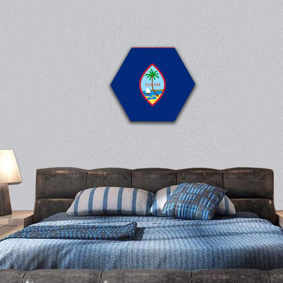 Flag Of Guam Hexagonal Canvas Wall Art 7 Hexa / Small / Gallery Wrap Tiaracle