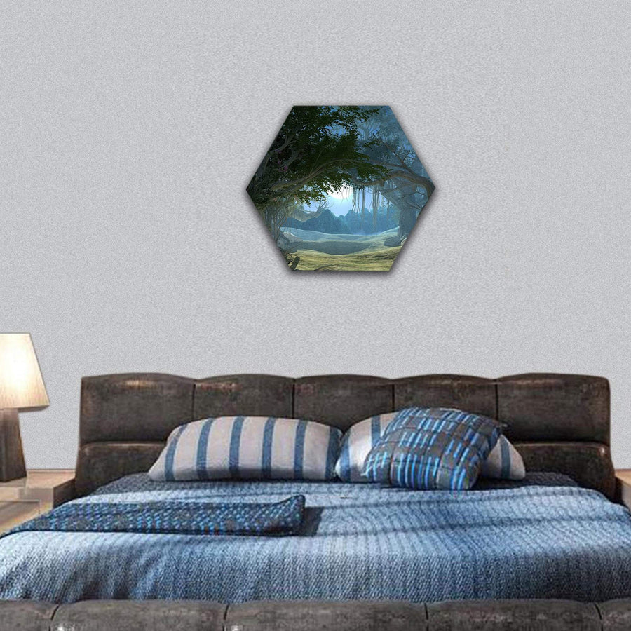 Enchanted Dark Forest In The Moonlight Hexagonal Canvas Wall Art 7 Hexa / Small / Gallery Wrap Tiaracle