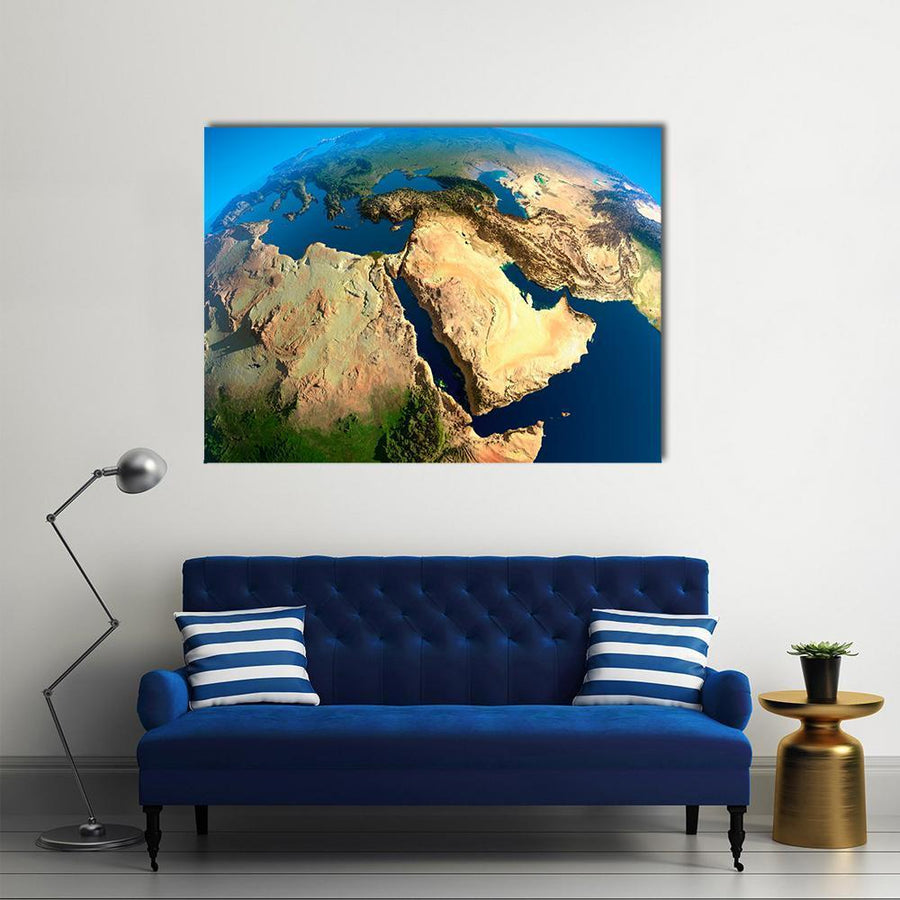 Middle East Satellite View Multi Panel Canvas Wall Art 4 Horizontal / Small / Gallery Wrap Tiaracle