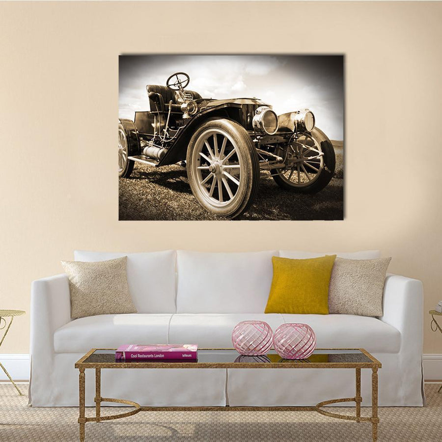 Retro Car Multi Panel Canvas Wall Art 4 Horizontal / Small / Gallery Wrap Tiaracle