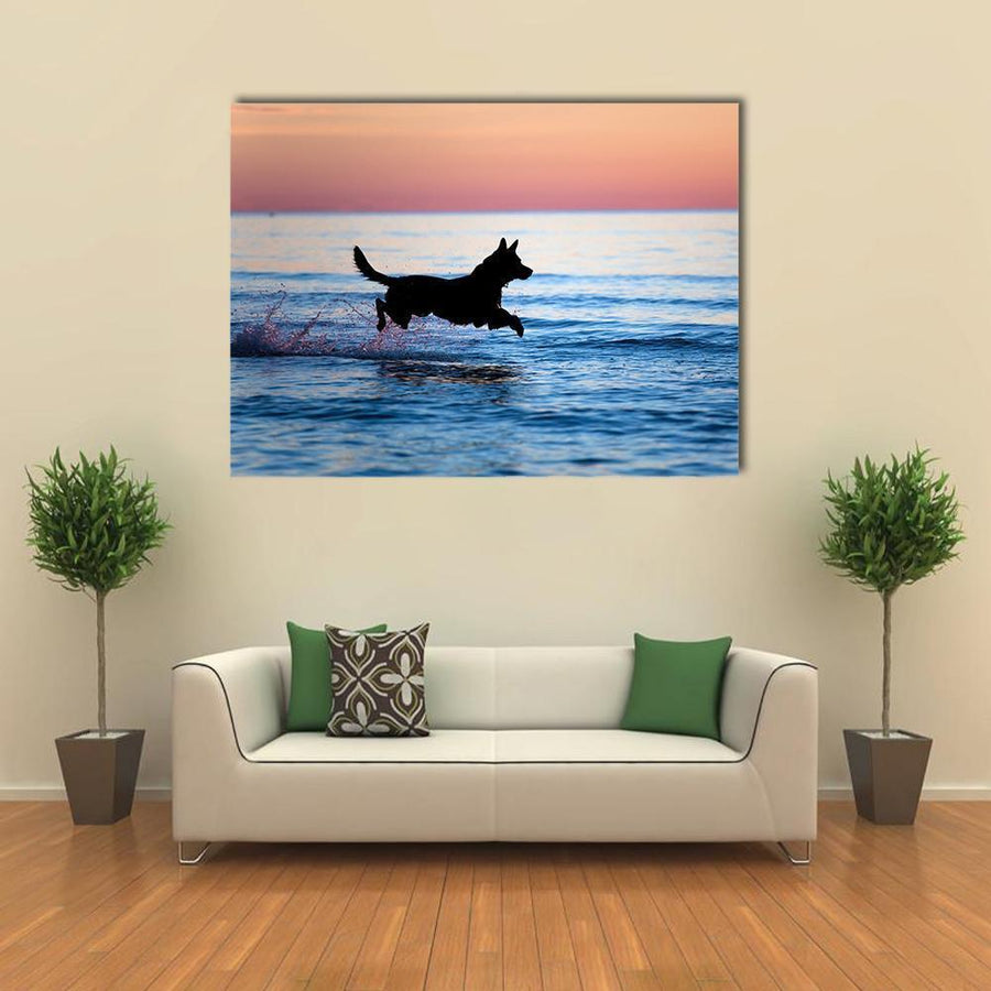 Dog Running On Water Against Horizon Multi Panel Canvas Wall Art 4 Horizontal / Small / Gallery Wrap Tiaracle
