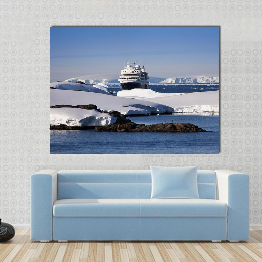 Cruise Ship In Antarctic Multi Panel Canvas Wall Art Tiaracle