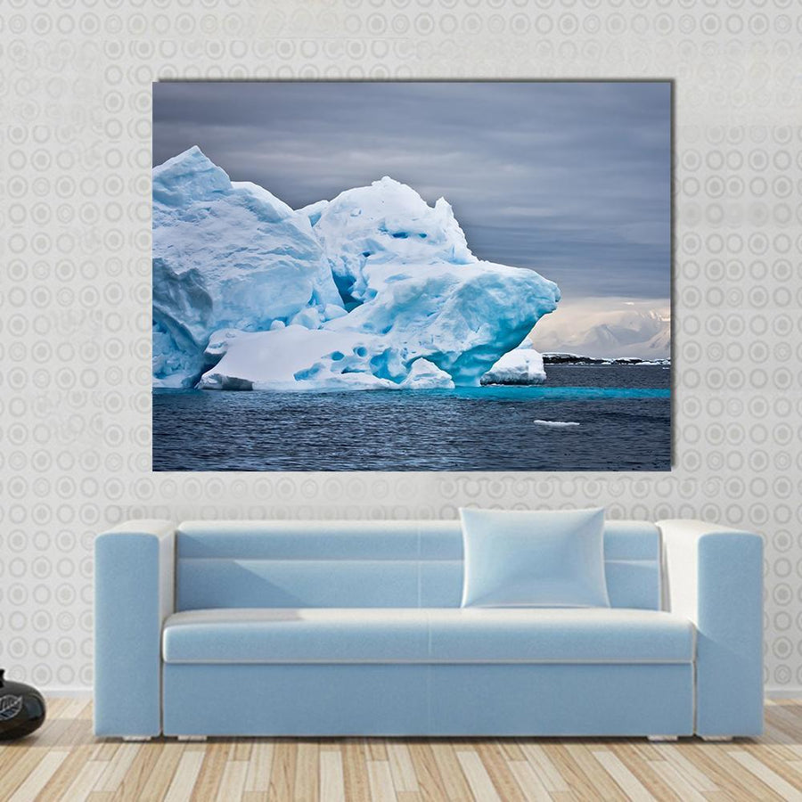 Huge Iceberg In Antarctica, Dark Sky Multi Panel Canvas Wall Art 5 Horizontal / Small / Gallery Wrap Tiaracle