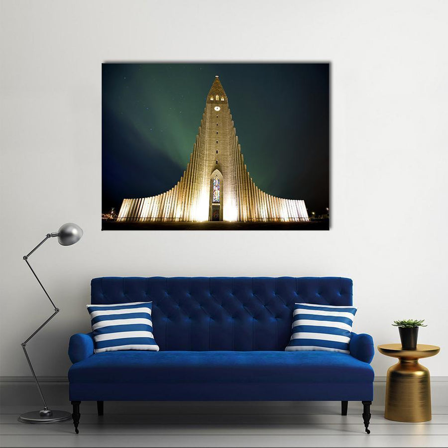 Church In Reykjavik Multi Panel Canvas Wall Art 4 Square / Small / Gallery Wrap Tiaracle