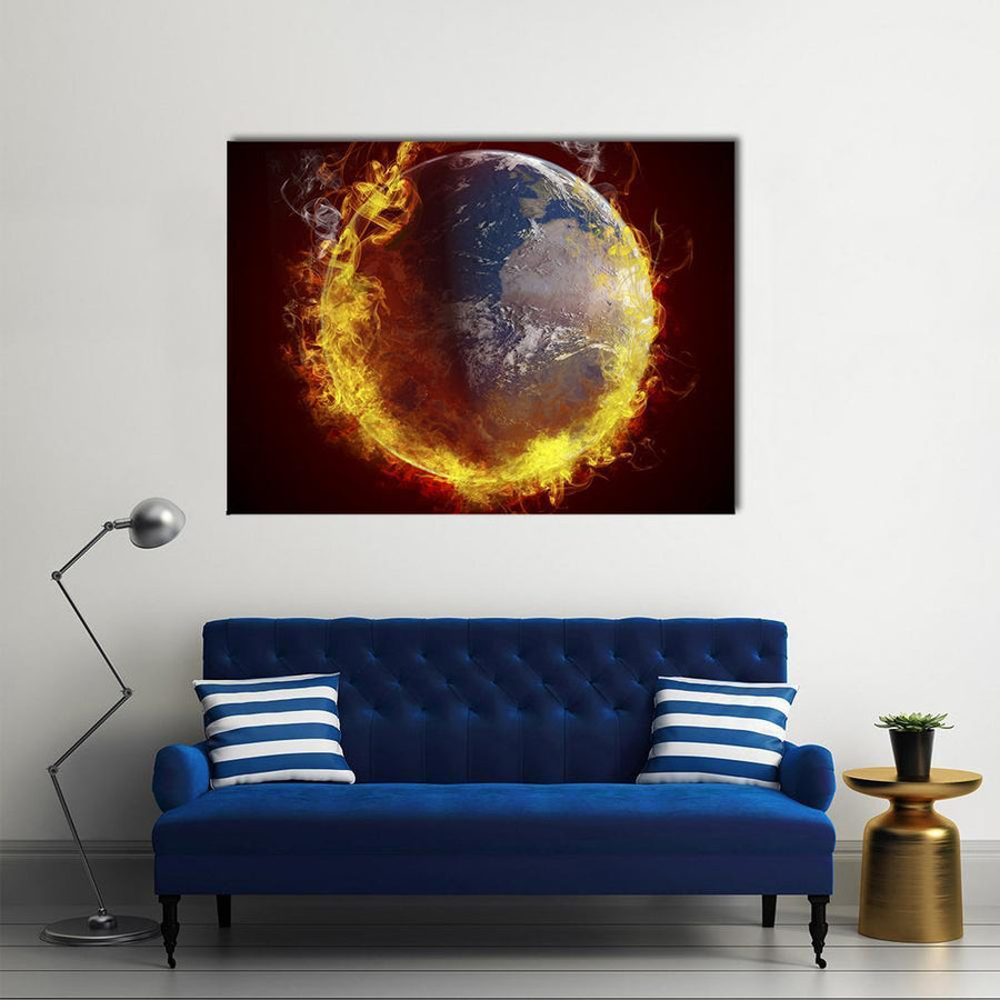 Burning Planet Earth Multi Panel Canvas Wall Art