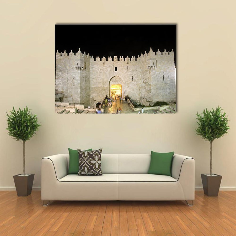 Night View Of Damascus Gate Entrance Multi Panel Canvas Wall Art 4 Horizontal / Small / Gallery Wrap Tiaracle