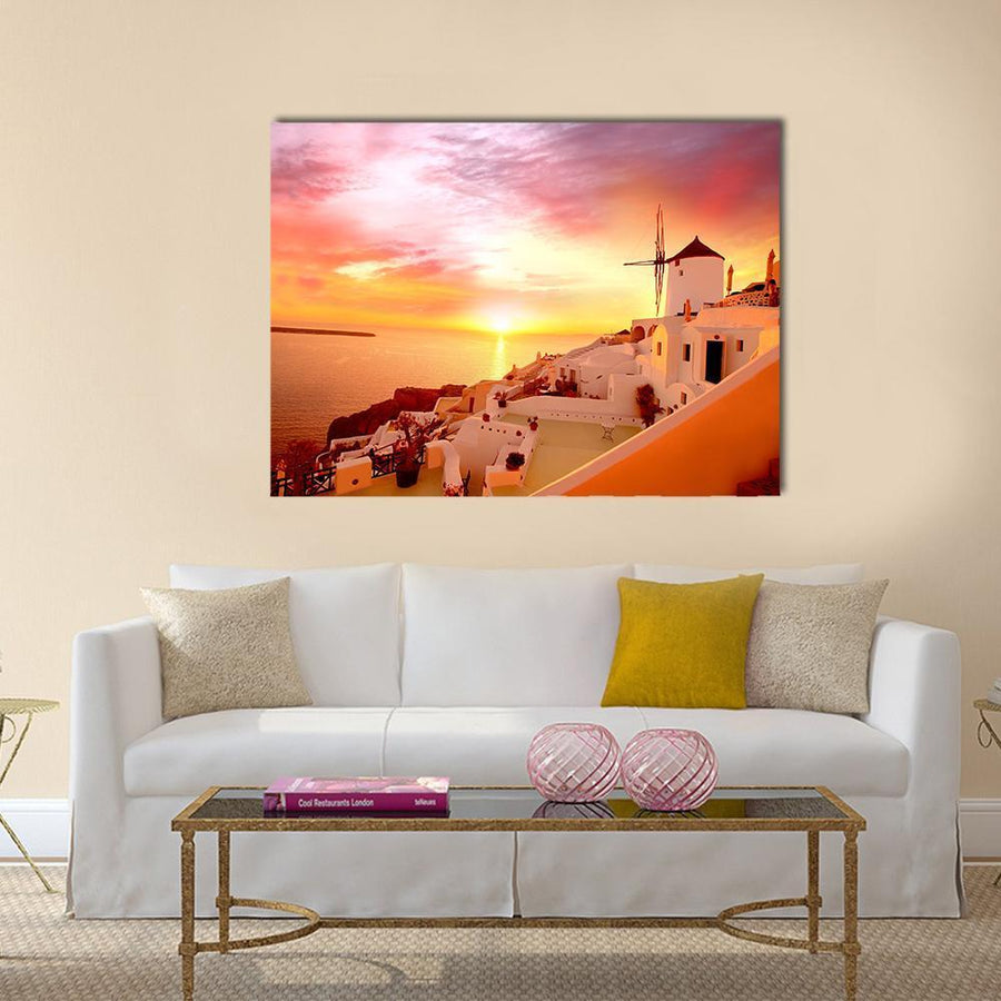 Santorini With Famous Windmill In Greece Multi Panel Canvas Wall Art 5 Horizontal / Small / Gallery Wrap Tiaracle