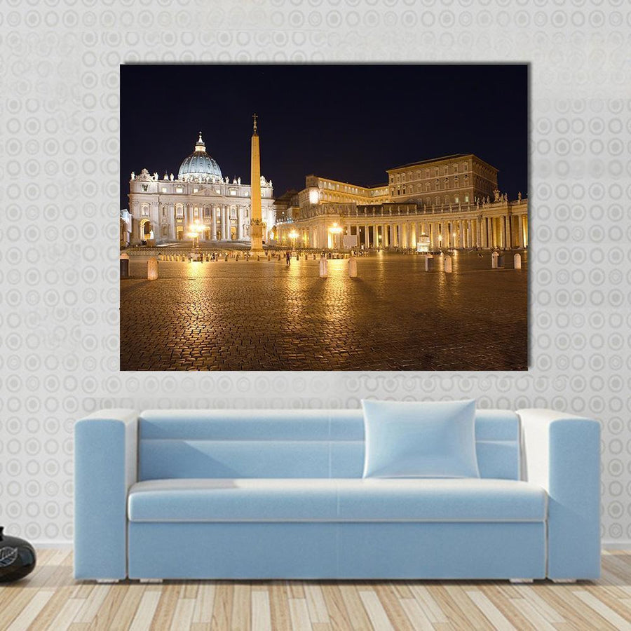Saint Peter's Square At Night, Vatican Multi Panel Canvas Wall Art 4 Horizontal / Small / Gallery Wrap Tiaracle