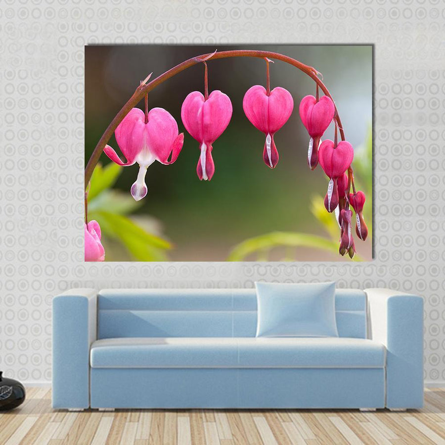 Bleeding Heart Flowers Multi Panel Canvas Wall Art 4 Horizontal / Small / Gallery Wrap Tiaracle