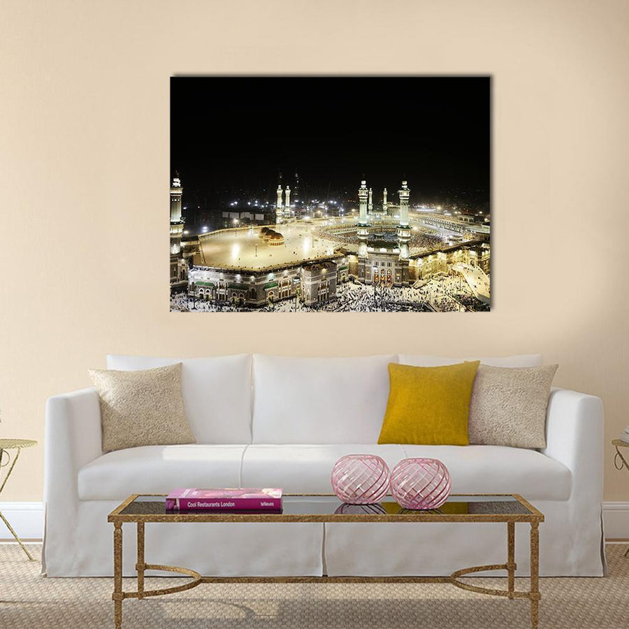 Full View Of Holy Kaaba At Night, Mecca Multi Panel Canvas Wall Art 5 Horizontal / Small / Gallery Wrap Tiaracle
