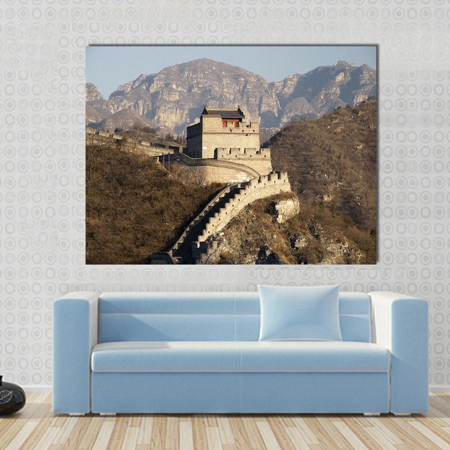 Great Wall Of China - Badling Multi Panel Canvas Wall Art 4 Square / Small / Gallery Wrap Tiaracle