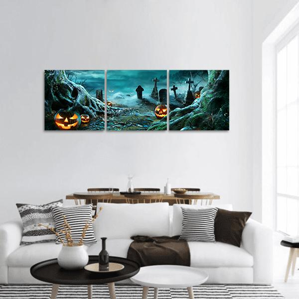 Jack O Lantern In Cemetery In Spooky Night Panoramic Canvas Wall Art Tiaracle