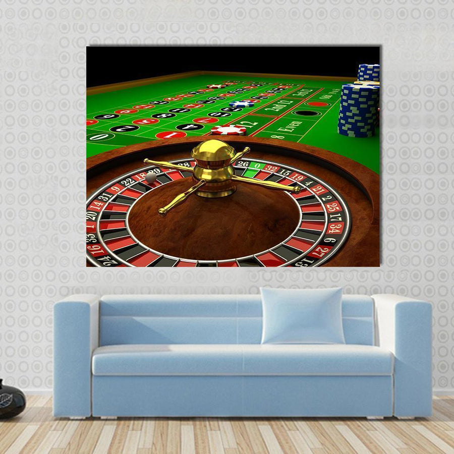 3D Rendered Image Of Casino Roulette Multi Panel Canvas Wall Art 4 Square / Small / Gallery Wrap Tiaracle