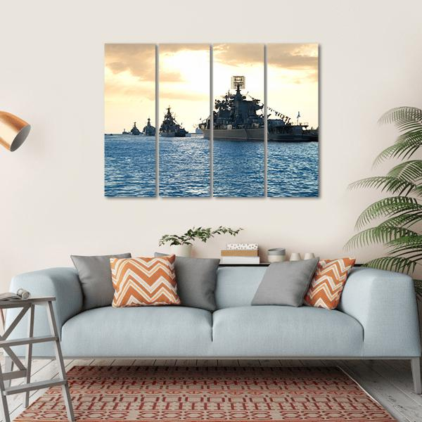 Row Of Military Ships Against Marine Sunset Multi Panel Canvas Wall Art 1 Piece / Small / Gallery Wrap Tiaracle
