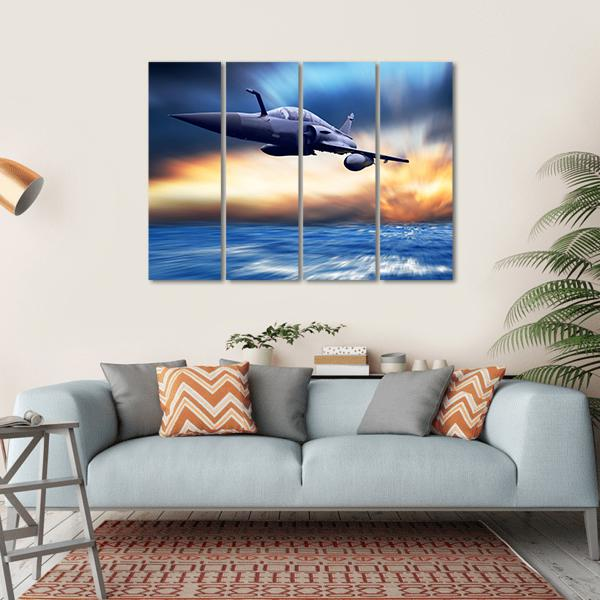Military Airplane On The Speed Multi Panel Canvas Wall Art 1 Piece / Small / Gallery Wrap Tiaracle
