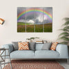 Rainbow On Dark Sky Multi Panel Canvas Wall Art 4 Horizontal / Small / Gallery Wrap Tiaracle