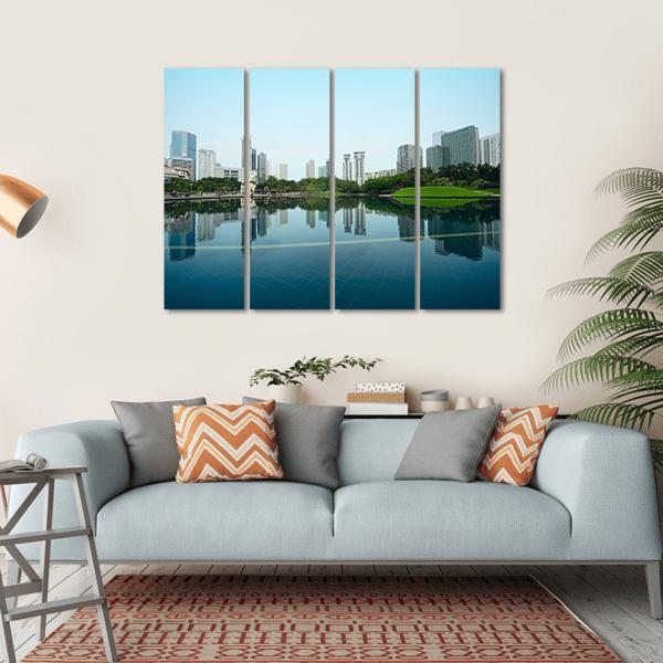 City With Reflection In Water Multi Panel Canvas Wall Art 1 Piece / Small / Gallery Wrap Tiaracle