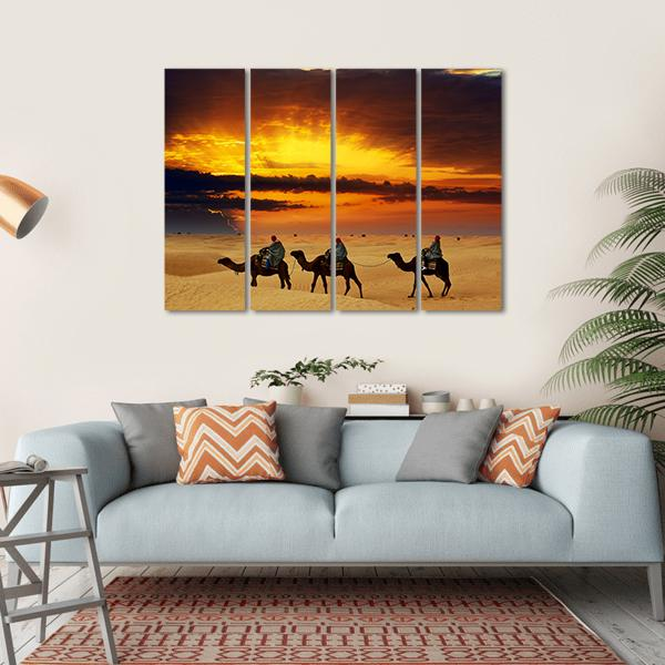 Camel Caravan Multi Panel Canvas Wall Art 1 Piece / Small / Gallery Wrap Tiaracle