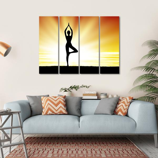 Woman Practice Yoga At Beach During Sunset Multi Panel Canvas Wall Art 1 Piece / Small / Gallery Wrap Tiaracle