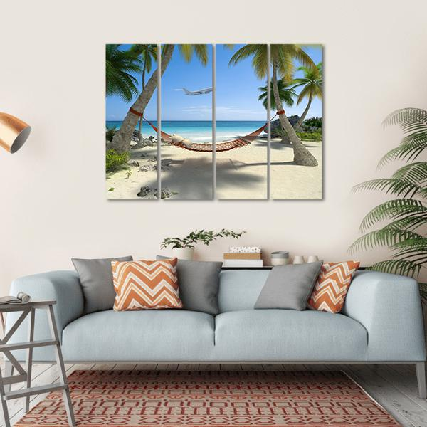 Tropical Beach With A Hammock Hanging From Palm Trees Multi Panel Canvas Wall Art 1 Piece / Small / Gallery Wrap Tiaracle